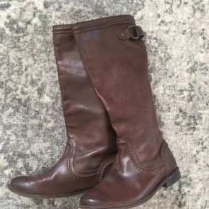 Frye Paige Trampunto Tall Riding Boots. 7. Brown.